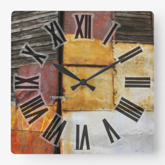 Colorful Patched Shutters Square Wall Clock