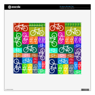 Colorful Patchwork Bicycle Art Kindle Fire Decals