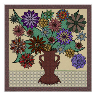 Colorful Patchwork Flower Arrangement Poster