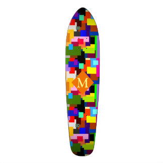 Colorful Patchwork Layers Modern Abstract Monogram Skateboard Deck
