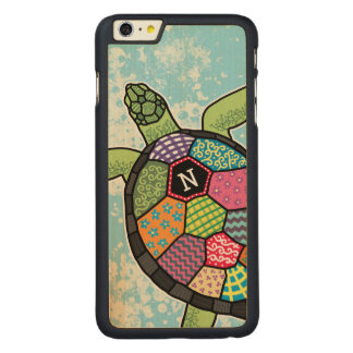 Colorful Patchwork Pattern Monogram Sea Turtle Carved® Maple iPhone 6 Plus Case