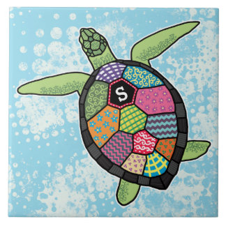 Colorful Patchwork Pattern Monogram Sea Turtle Ceramic Tile