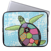 Colorful Patchwork Pattern Monogram Sea Turtle Computer Sleeve