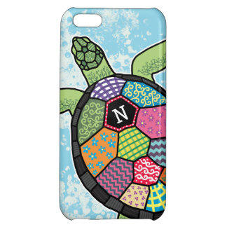 Colorful Patchwork Pattern Monogram Sea Turtle iPhone 5C Covers