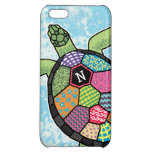 Colorful Patchwork Pattern Monogram Sea Turtle iPhone 5C Cover