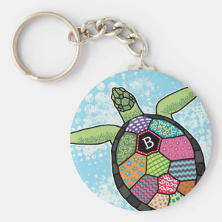 Colorful Patchwork Pattern Monogram Sea Turtle Keychain