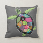 Colorful Patchwork Pattern Monogram Sea Turtle Throw Pillows