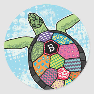 Colorful Patchwork Pattern Monogram Sea Turtle Classic Round Sticker