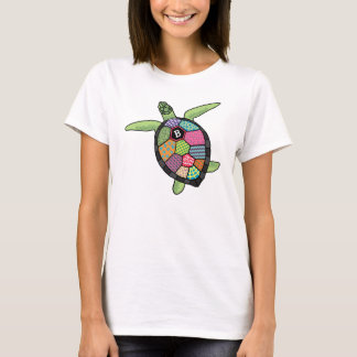 Colorful Patchwork Pattern Monogram Sea Turtle T-Shirt