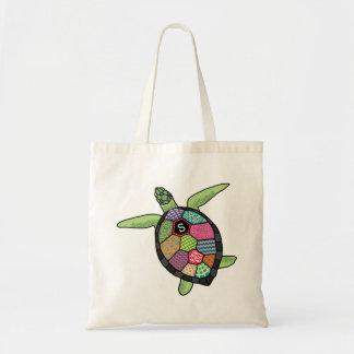 Colorful Patchwork Pattern Monogram Sea Turtle Tote Bag