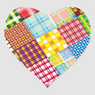 Colorful Patchwork Pattern Heart Sticker