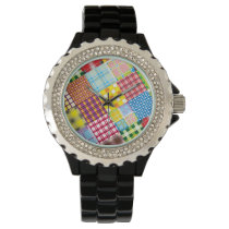 Colorful Patchwork Pattern Wrist Watch