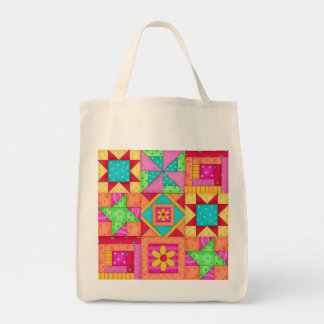 Colorful Patchwork Quilt Art Grocery Bag