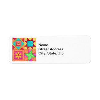 Colorful Patchwork Quilt Art Label