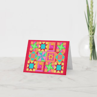 Colorful Patchwork Quilt Art Stationery Note Card