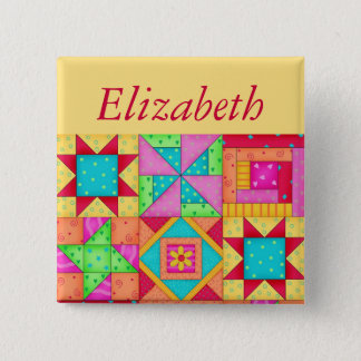 Colorful Patchwork Quilt Block Art Name Badge Button