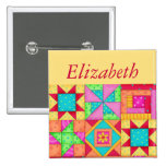 Colorful Patchwork Quilt Block Art Name Badge 2 Inch Square Button