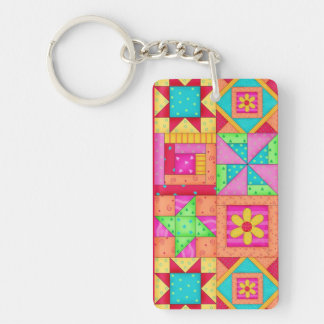 Colorful Patchwork Quilt Blocks Art Keychain