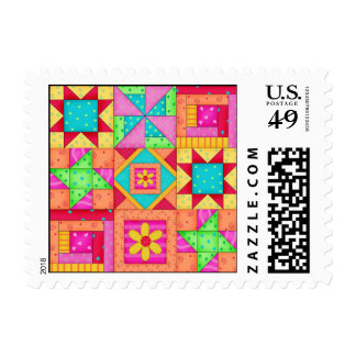 Colorful Patchwork Quilt Blocks Art Postage