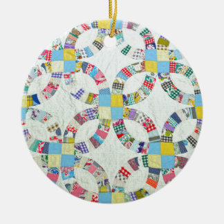 Colorful patchwork quilt ceramic ornament
