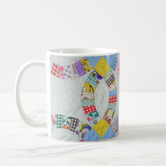 Colorful patchwork quilt coffee mug