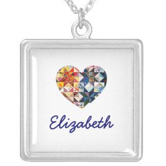 Colorful Patchwork Quilt Heart - Blue Monogram Square Pendant Necklace