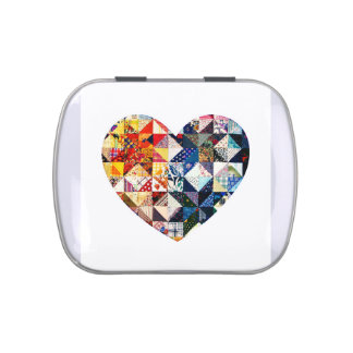 Colorful Patchwork Quilt Heart Jelly Belly Candy Tin
