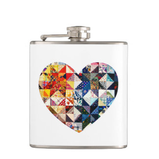 Colorful Patchwork Quilt Heart Hip Flask