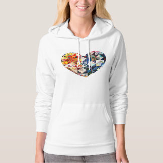 Colorful Patchwork Quilt Heart Hoodie
