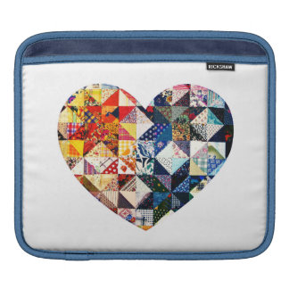 Colorful Patchwork Quilt Heart iPad Sleeve