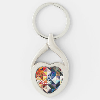 Colorful Patchwork Quilt Heart Keychain