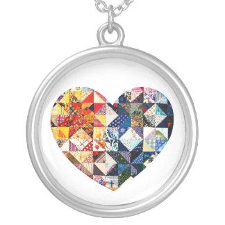 Colorful Patchwork Quilt Heart Round Pendant Necklace