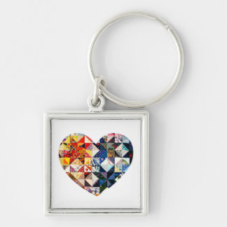 Colorful Patchwork Quilt Heart Silver-Colored Square Keychain