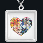 """Colorful Patchwork Quilt Heart Silver Plated Necklace<br><div class=""""desc"""">A colorful patchwork quilt heart.</div>"""
