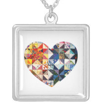 Colorful Patchwork Quilt Heart Silver Plated Necklace