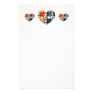 Colorful Patchwork Quilt Heart Stationery
