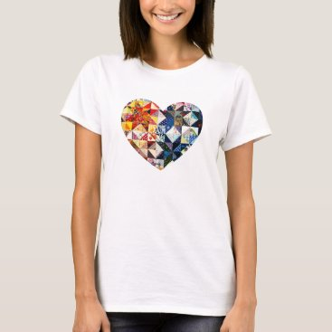 FirstFruitsDesigns Colorful Patchwork Quilt Heart T-Shirt