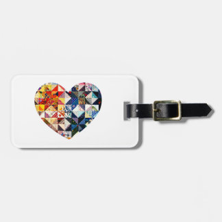 Colorful Patchwork Quilt Heart Tag For Luggage