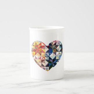 Colorful Patchwork Quilt Heart Tea Cup