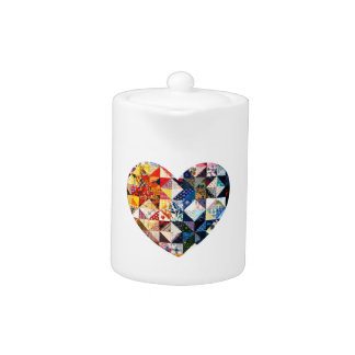 Colorful Patchwork Quilt Heart Teapot