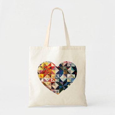 FirstFruitsDesigns Colorful Patchwork Quilt Heart Tote Bag