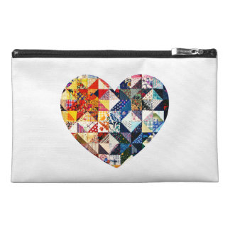 Colorful Patchwork Quilt Heart Travel Accessory Bags
