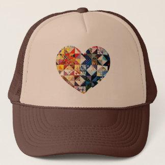 Colorful Patchwork Quilt Heart Trucker Hat