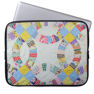 Colorful patchwork quilt laptop sleeve