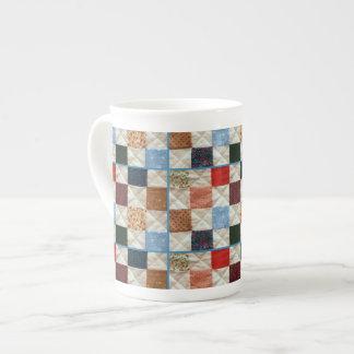Colorful patchwork quilt pattern tea cup