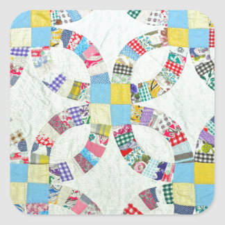 Colorful patchwork quilt square sticker