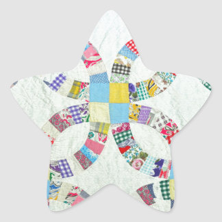 Colorful patchwork quilt star sticker