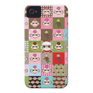 Colorful Patchwork Sock Monkey Blackberry Case