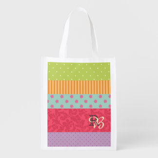 Colorful Patchwork-Style Striped Monogrammed Reusable Grocery Bag