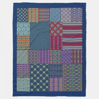 Colorful Patchwork Vintage Motif Fleece Blanket